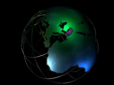 computer generated image spinning globe with longitudinal and latitudinal lines / black background - immagine in movimento in loop video stock e b–roll