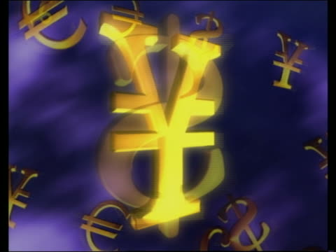 computer generated image spinning international currency symbols encircling globe - yen symbol stock videos & royalty-free footage