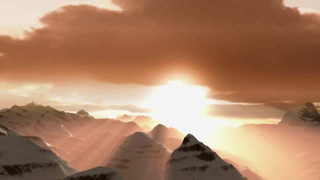 computer generated image time lapse aerial sun setting over snow-covered mountain peaks - beenden stock-videos und b-roll-filmmaterial