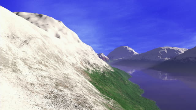 computer generated image time lapse wide shot clouds and wind passing over snow-covered mountains + lake / snow melting / snow blanketing - digital animation stock videos & royalty-free footage