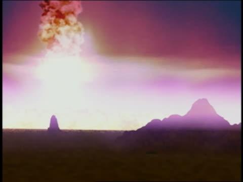 Computer generated image volcanic eruption w/rocks exploding / burst of lights exploding in sky