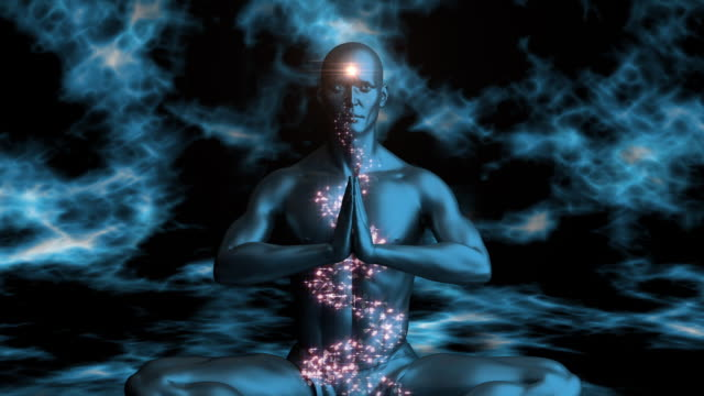 a computer generated man meditating - lotussitz stock-videos und b-roll-filmmaterial