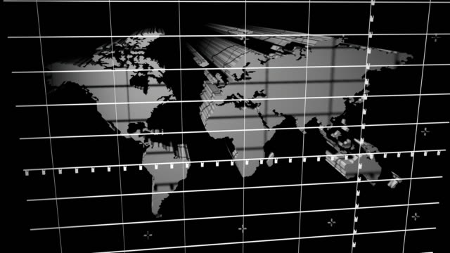 computer generated pan of 3d map of the world behind grid / pan to flat map with blue circles emanating from several locations - parallelo video stock e b–roll