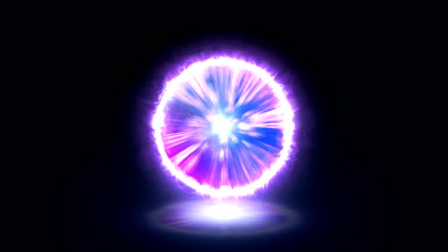 vídeos de stock e filmes b-roll de computer generated portal effect or plasma energy ball effect purple - esfera