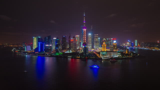 computer generated powerdown sequence looking at pudong. shanghai, china - amplifier stock videos & royalty-free footage