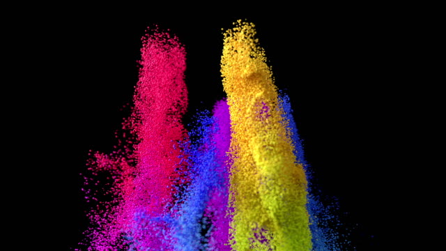 computer generated slow motion video of multi colored particles exploding - religioni e filosofie video stock e b–roll