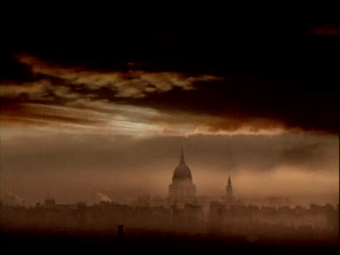 computer graphic image of smog-covered london - threats stock videos & royalty-free footage