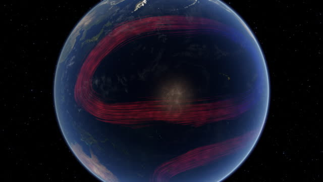 Computer graphic of Earth in space showing ocean currents transporting energy away from the equator