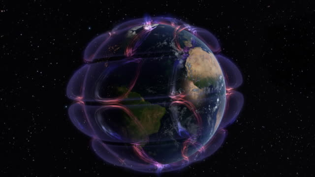Computer graphic of Earth showing atmospheric circulation cells