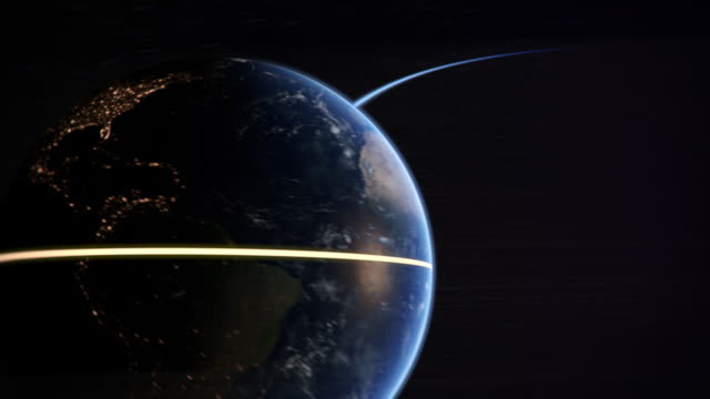 Computer graphic of the Earth spinning in Space showing highlighted equator line and orbit path