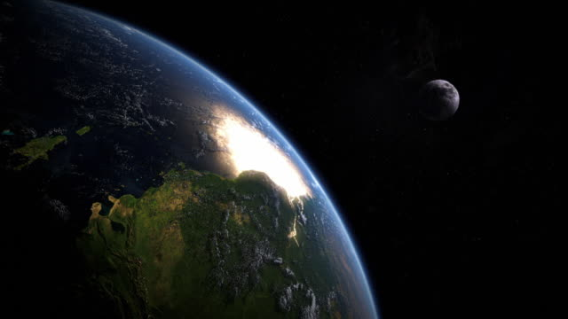 computer graphic of the earth spinning in space, with the moon and sun in the background - moon stock videos & royalty-free footage