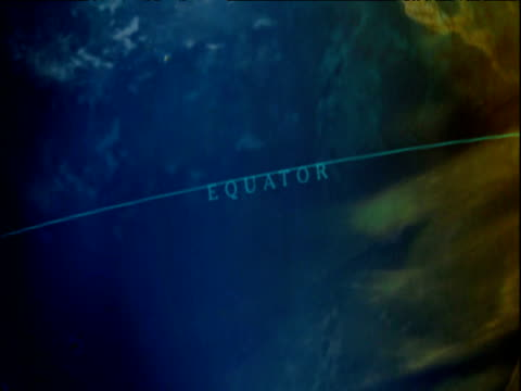 Computer graphics recreation of Earth rotating with equator marked on surface zoom in to Africa