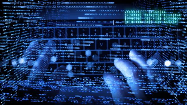 vídeos de stock e filmes b-roll de computer hacker technology montage - montagem