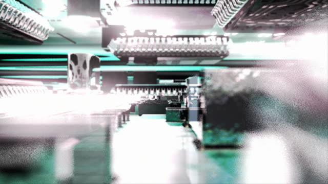 cu pov cgi computer integrated circuit board with glowing data lights / oxford, oxfordshire, united kingdom - digital animation stock videos & royalty-free footage