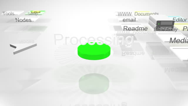 3d computer interface. mouse cursor presses a start button and the interface starts a processing animation.  - cursor stock videos & royalty-free footage