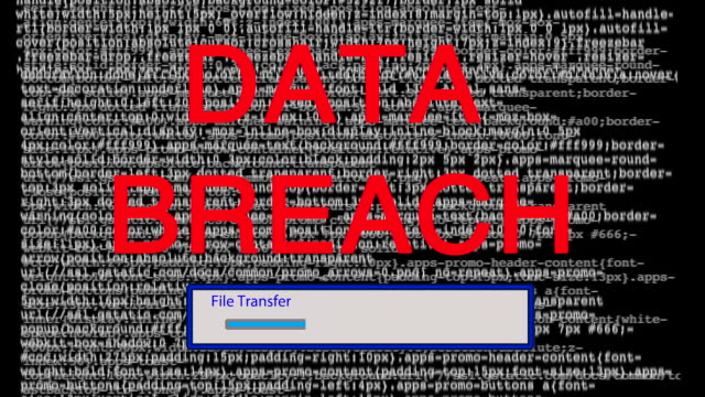 Computer internet hack attack file transfer and data breach.