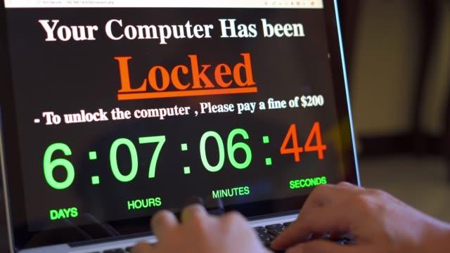 vídeos de stock, filmes e b-roll de computador bloqueado por ransomware - vírus de computador