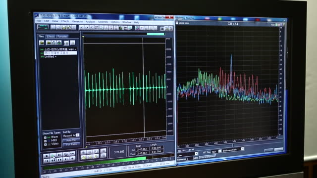 vídeos y material grabado en eventos de stock de computer monitor displaying sound wave - estudio de grabación