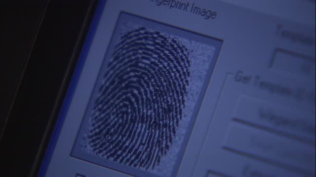 a computer monitor displays a fingerprint. - sorveglianza video stock e b–roll