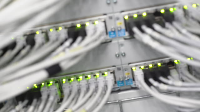 computer network server operating rack focus (4k/uhd) - computer cable stock videos & royalty-free footage