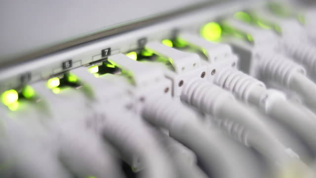 Computer Network Switch With Blinking Lights Close-up