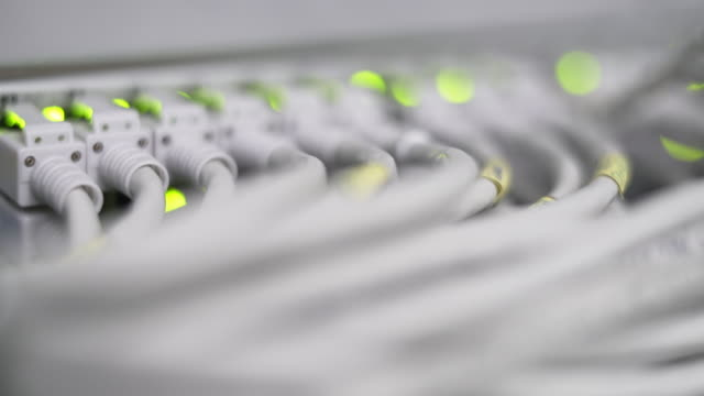 Computer Network Switch With Blinking Lights Rack Focus