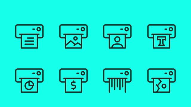 computerdrucker-liniensymbole - vector animate - mitteilung stock-videos und b-roll-filmmaterial