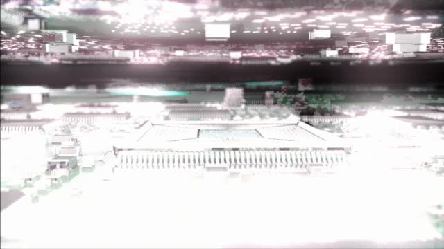 cu pov zi cgi computer processor on integrated circuit board with glowing data lights / oxford, oxfordshire, united kingdom - digital animation点の映像素材/bロール