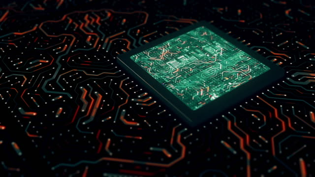 回路基板付きコンピュータプロセッサ - 半導体点の映像素材/bロール