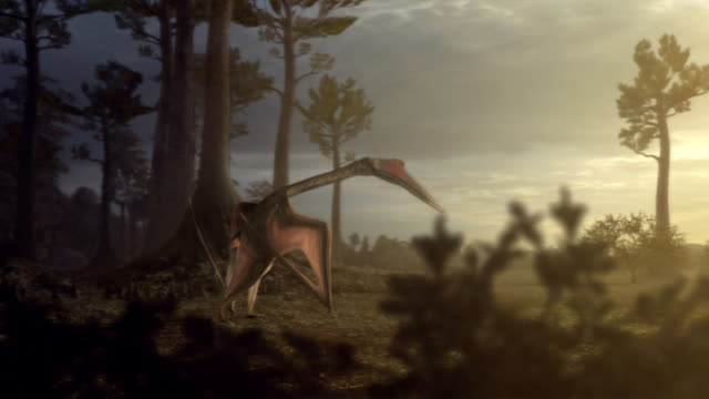 A computer program analyzes running dinosaurs; a Quetzalcoatlus takes flight in a jungle; a computer-generated anatomical model features the muscular system of a Quetzalcoatlus.