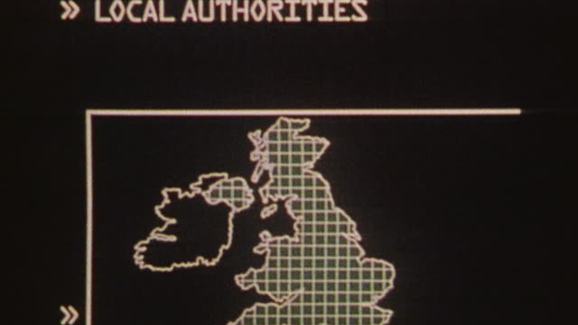 CGI A computer screen printing lines of text and illustrations explaining the roles of organizations responsible for civil protection at all government levels / United Kingdom
