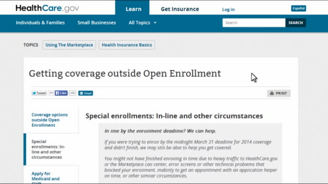 computer screen video of online application process of the affordable care act showing the open enrollment period is closed - sports period stock videos & royalty-free footage