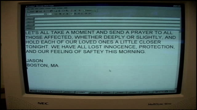 cu computer screen with email from person about 9/11 attacks - 2001 bildbanksvideor och videomaterial från bakom kulisserna