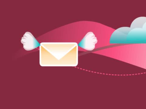 stockvideo's en b-roll-footage met computer sending an e-mail - e mail