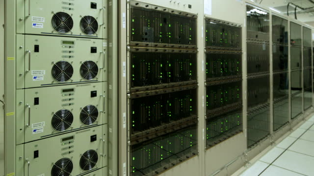 ws, pan a computer server room at alma observatory (alma correlator) / san pedro de atacama, chile - network server stock videos & royalty-free footage