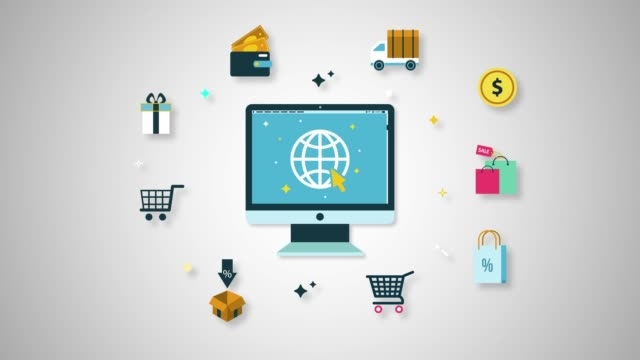 computer shopping line icon animation - e commerce stock videos & royalty-free footage