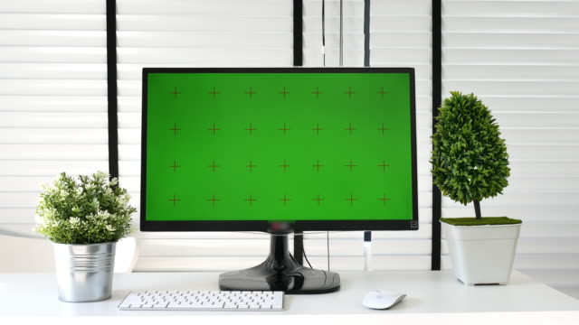 Computer with Green screen