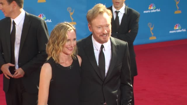 conan o'brien and guest at the 62nd primetime emmy awards arrivals part 2 at los angeles ca - conan o'brien stock videos and b-roll footage