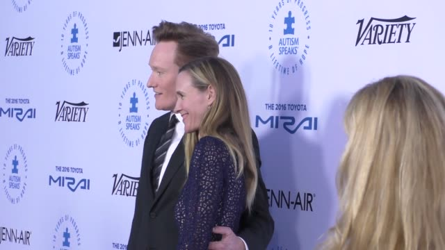 conan o'brien and liza powel at the autism speaks to los angeles celebrity chef gala at barker hangar on october 08 2015 in los angeles california - conan o'brien stock videos and b-roll footage