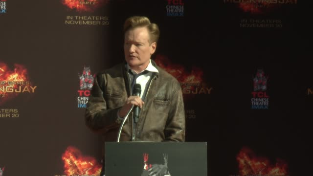 speech conan o'brien at stars from lionsgate's the hunger games mockingjay part 2 hand and footprint ceremony at tcl chinese theatre on october 31... - conan o'brien stock videos and b-roll footage