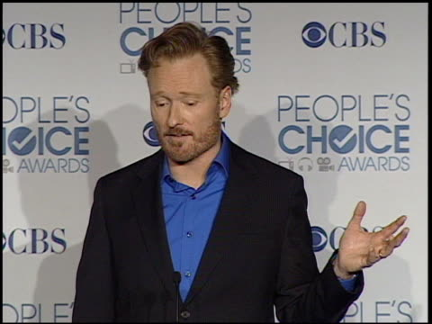 conan o'brien on his cross country tour at the 2011 people's choice awards press room at los angeles ca - conan o'brien stock videos and b-roll footage