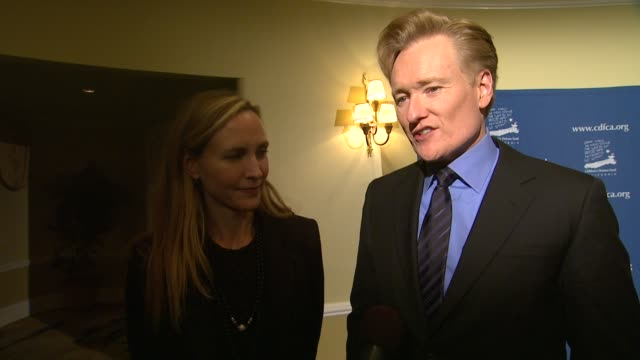 interview conan o'brien on how he got involved with cdf how they have changed the honorees life and what he hopes to say for the future of cdf at... - conan o'brien stock videos and b-roll footage