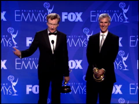 conan obrien winner for writing for a variety music or comedy program for late night with conan obrien at the 2007 emmy awards press room at the... - conan o'brien stock videos and b-roll footage