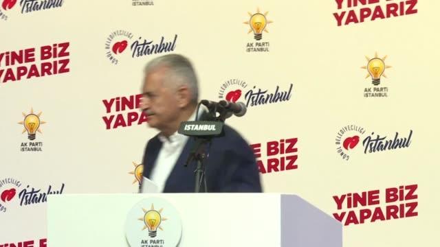 conceding defeat in the istanbul mayoral elections binali yildirim says he hopes opponent ekrem imamoglu will serve istanbul well - binali yildirim stock-videos und b-roll-filmmaterial
