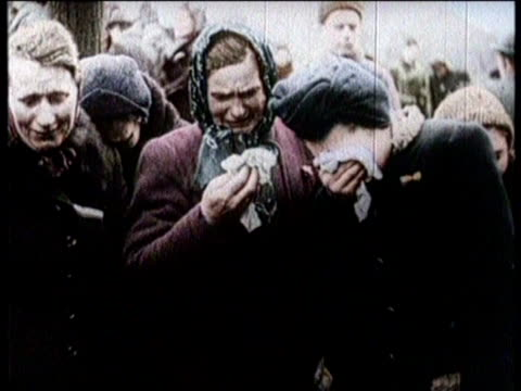 / concentration camp victims released from camp / fire tanks being used to burn concentration camp / interior of concentration camp / soldiers... - newsreel stock videos & royalty-free footage