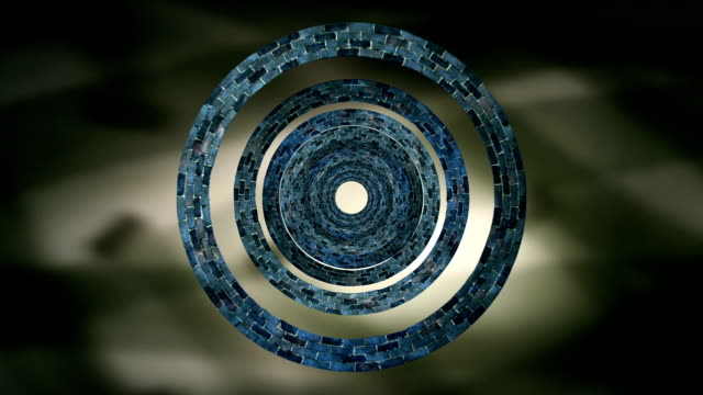Concentric Spinning Circles Against Shimmering Background