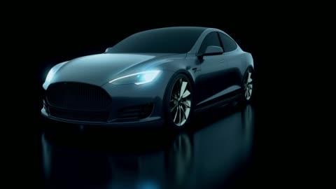 vidéos et rushes de concept 3d voiture noire en studio tourné - voiture particulière
