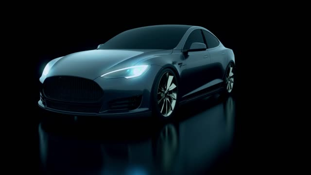 concept 3d black car in studio shot - sports car stock videos & royalty-free footage