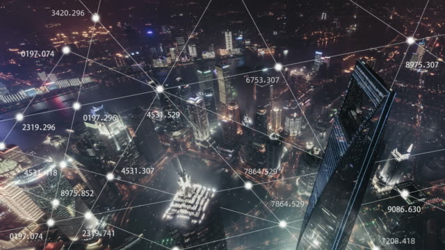 t/l 5g concept and city network of shanghai at night / shanghai, china - digital enhancement stock videos & royalty-free footage