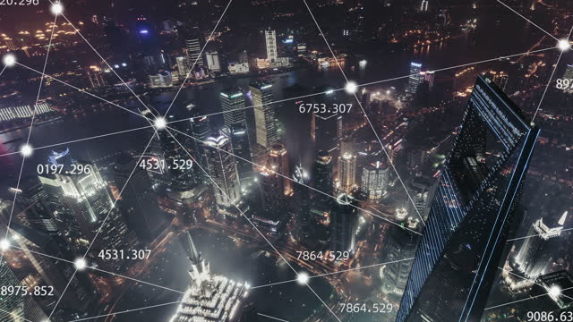 t/l 5g concept and city network of shanghai at night / shanghai, china - smart stock videos & royalty-free footage